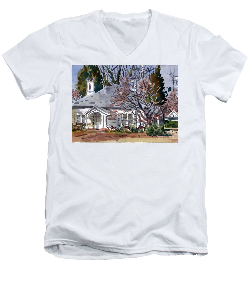 Tapp House Men's V-Neck T-Shirt featuring the painting Tapp House by Donald Maier
