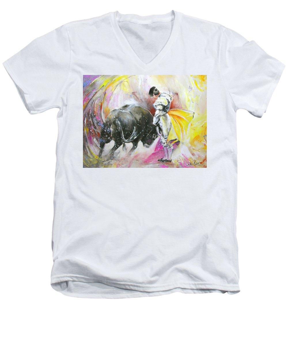 Animals Men's V-Neck T-Shirt featuring the painting Taurean Power by Miki De Goodaboom