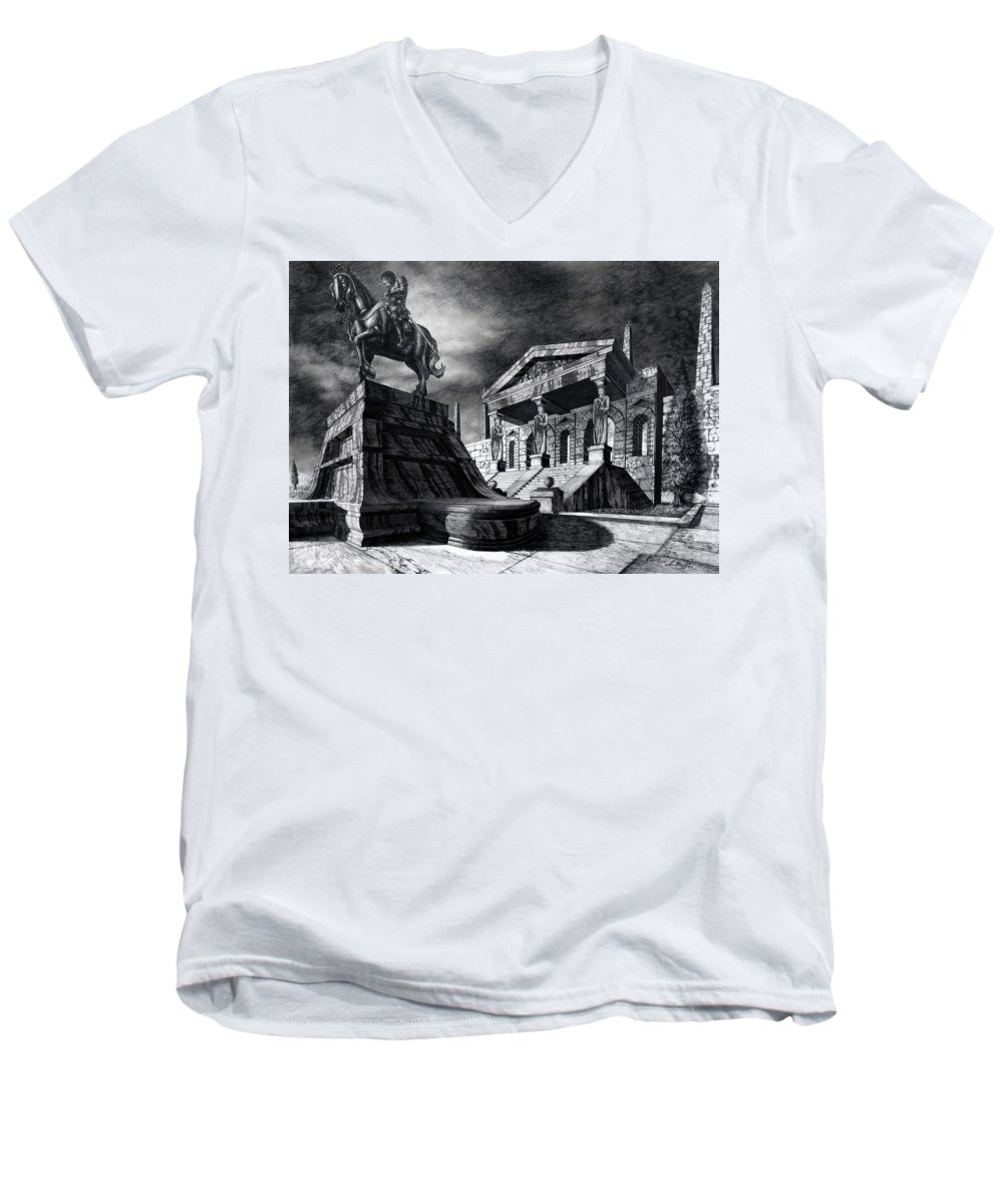 Greek Architecture Men's V-Neck T-Shirt featuring the drawing Temple Of Perseus by Curtiss Shaffer