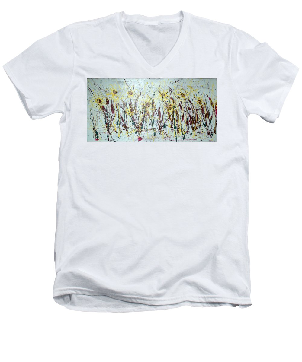 Flowers Men's V-Neck T-Shirt featuring the painting Tending My Garden by J R Seymour