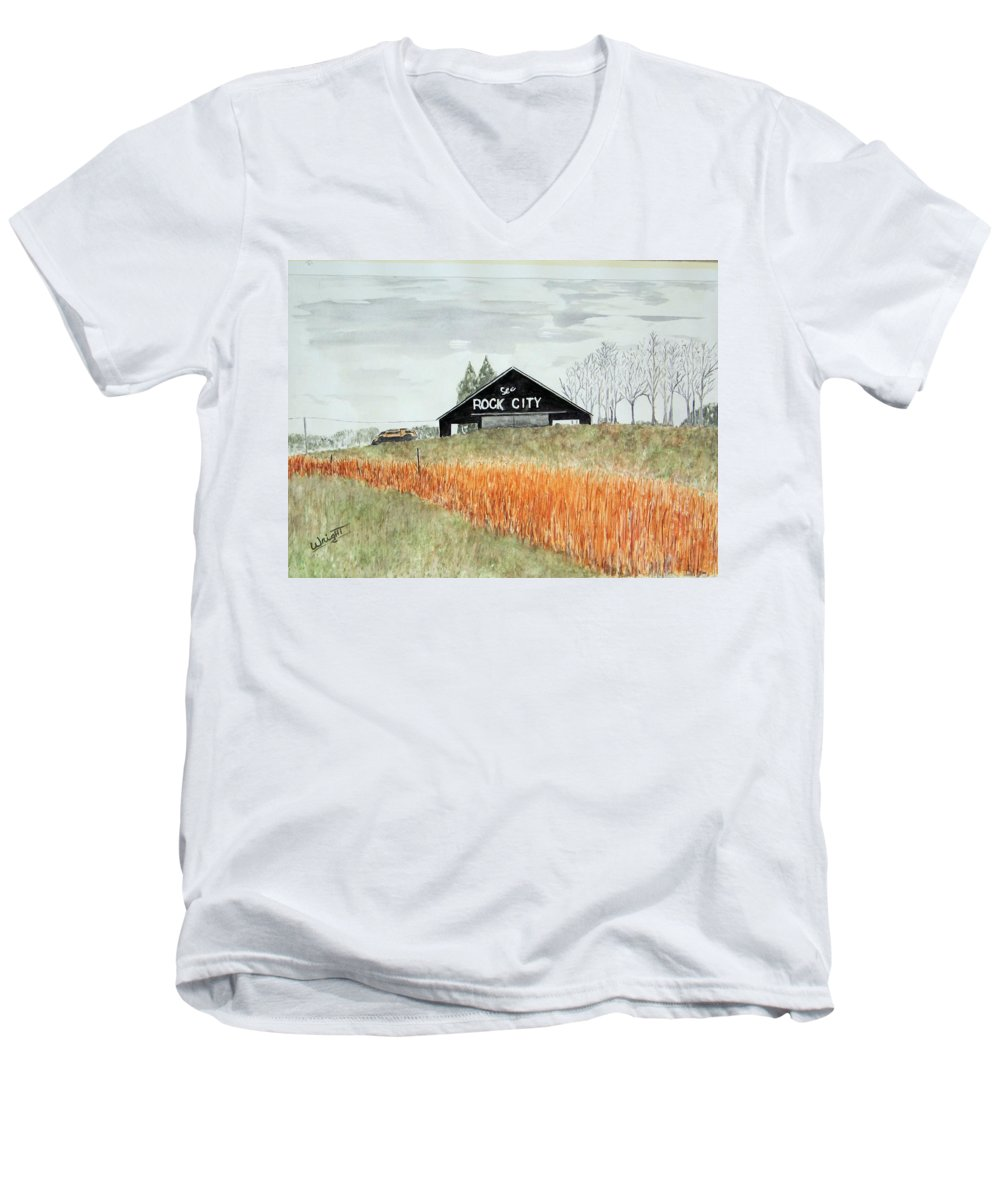 Barns Men's V-Neck T-Shirt featuring the painting Tennessee Destination by Larry Wright