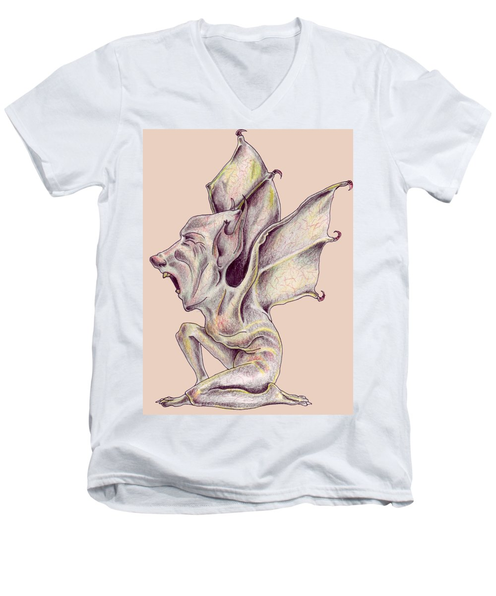 Bat Rat Man Drawings Color Pencil Men's V-Neck T-Shirt featuring the drawing That Bat Man Rat by Veronica Jackson