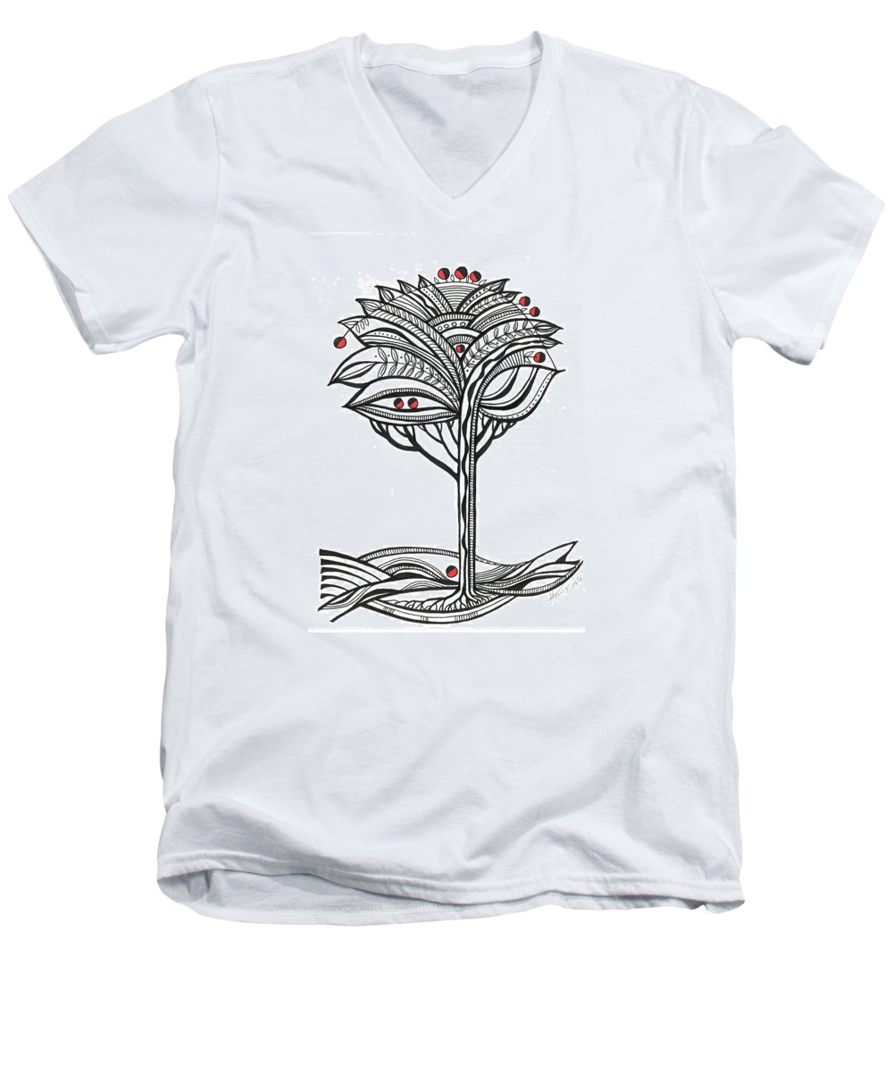 Abstract Men's V-Neck T-Shirt featuring the drawing The Apple Tree by Aniko Hencz