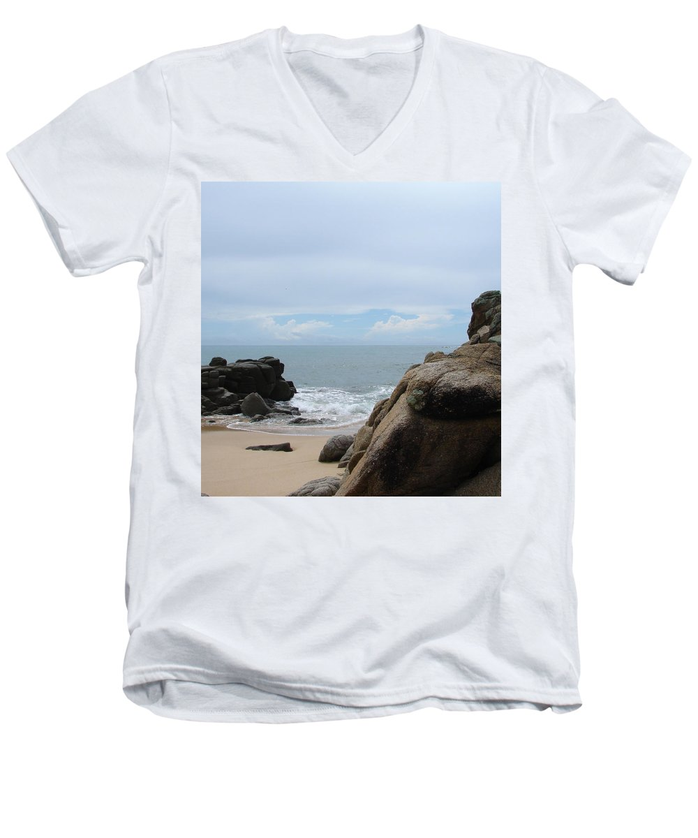 Sand Ocean Clouds Blue Sky Rocks Men's V-Neck T-Shirt featuring the photograph The Beach 2 by Luciana Seymour