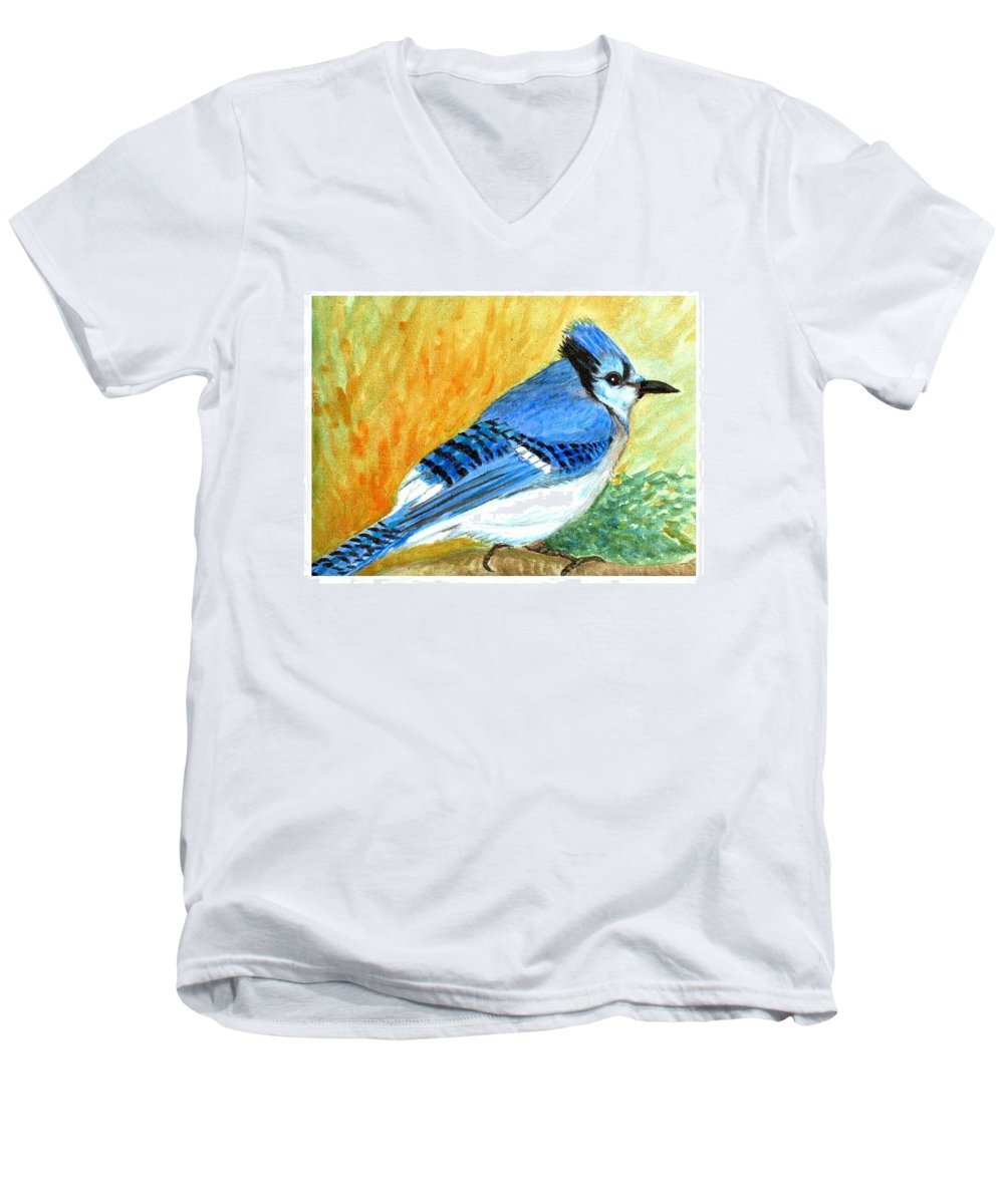 Bird Men's V-Neck T-Shirt featuring the painting The Blue Jay by Asha Sudhaker Shenoy