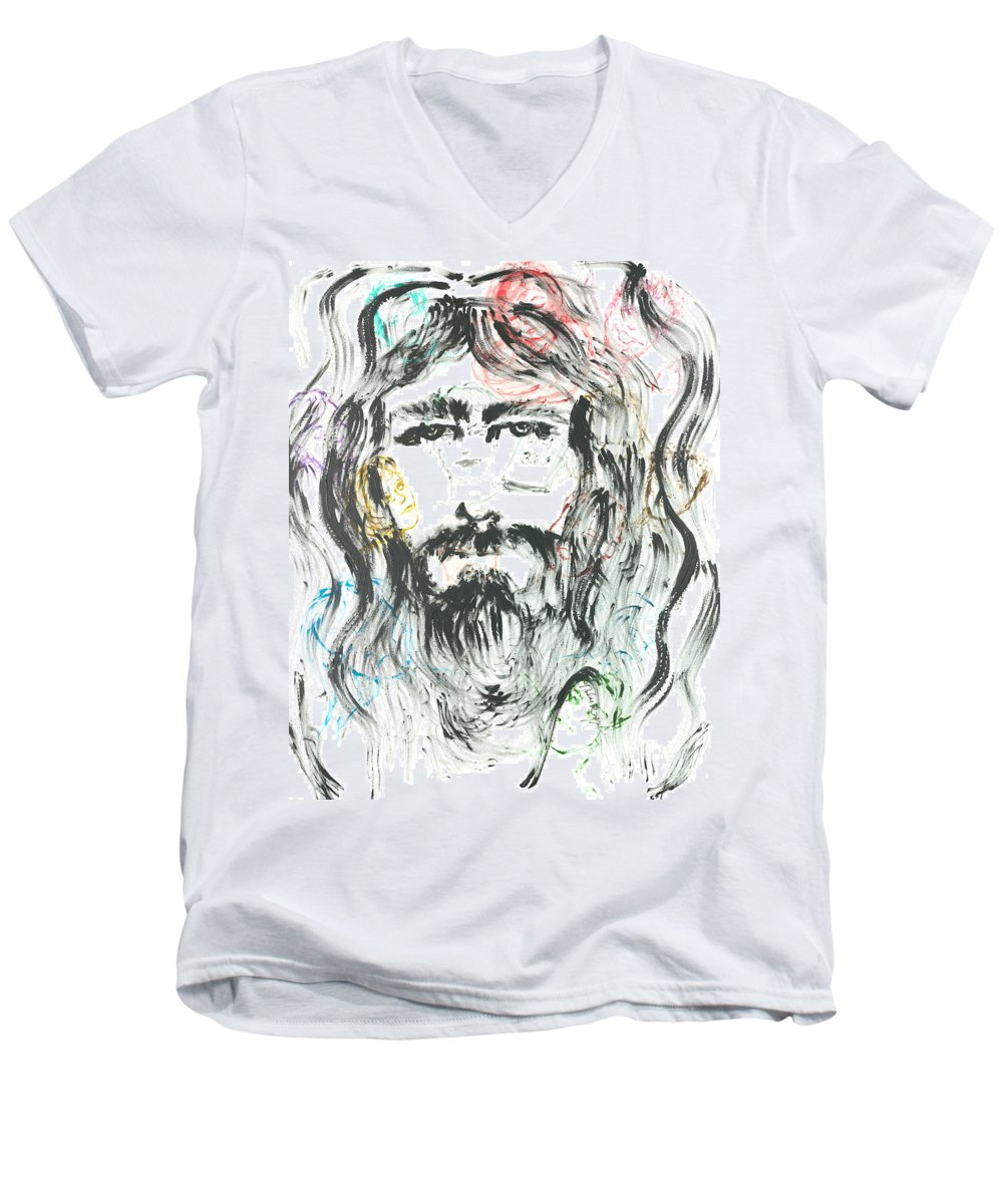 Jesus Men's V-Neck T-Shirt featuring the painting The Emotions Of Jesus by Nadine Rippelmeyer