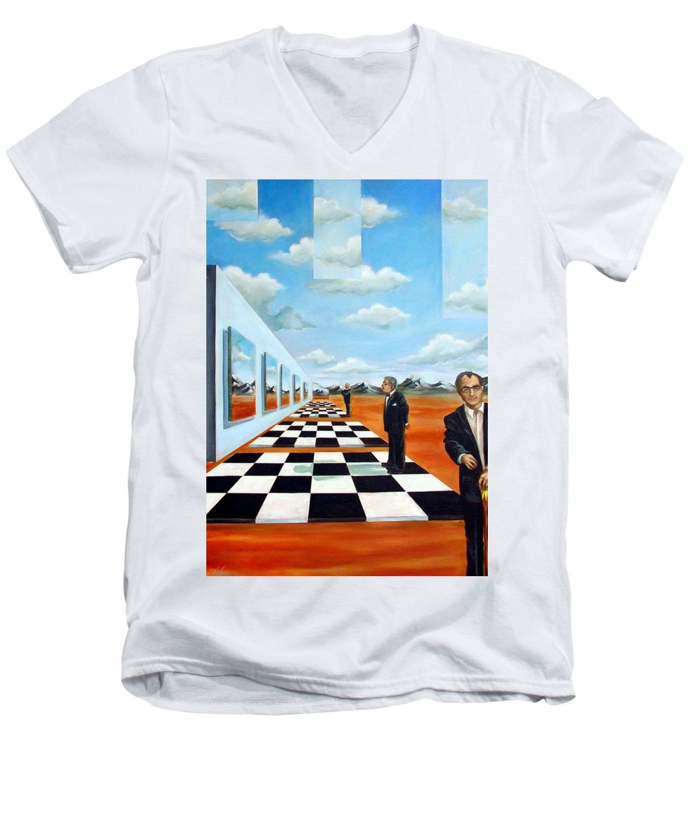 Surreal Men's V-Neck T-Shirt featuring the painting The Gallery by Valerie Vescovi