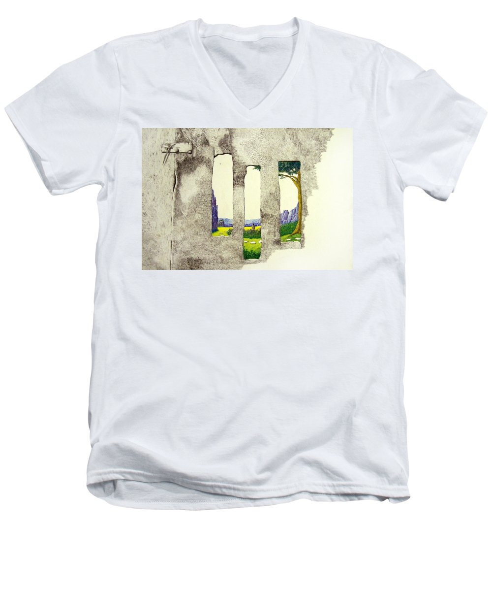 Imaginary Landscape. Men's V-Neck T-Shirt featuring the painting The Garden by A Robert Malcom