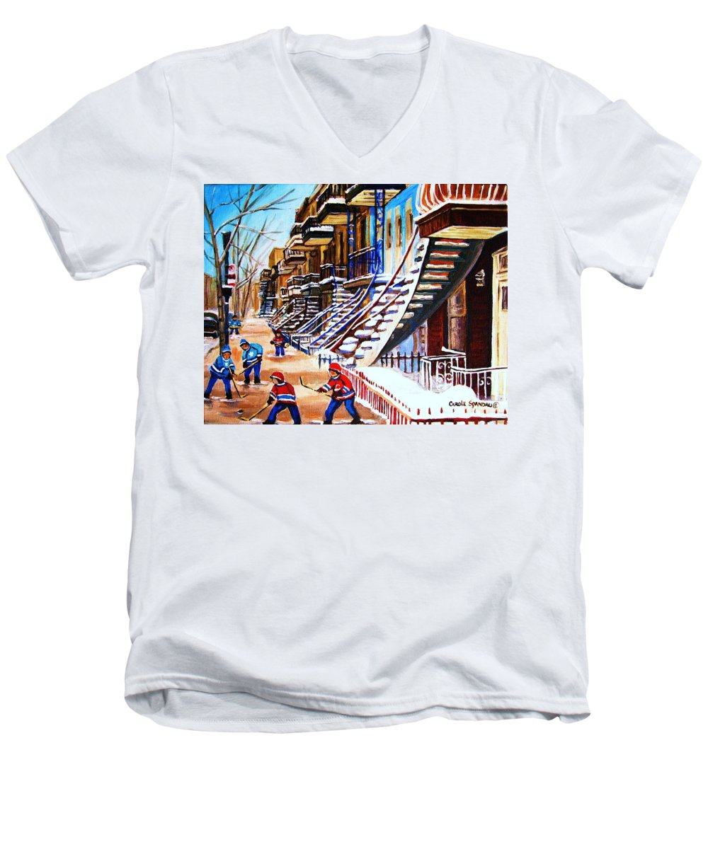 Hockey Men's V-Neck T-Shirt featuring the painting The Gray Staircase by Carole Spandau