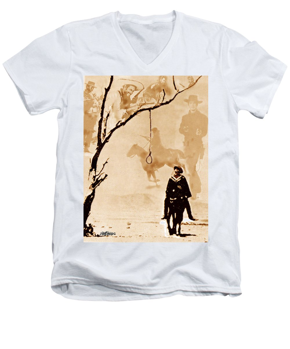 Clint Eastwood Men's V-Neck T-Shirt featuring the digital art The Hangman's Tree by Seth Weaver