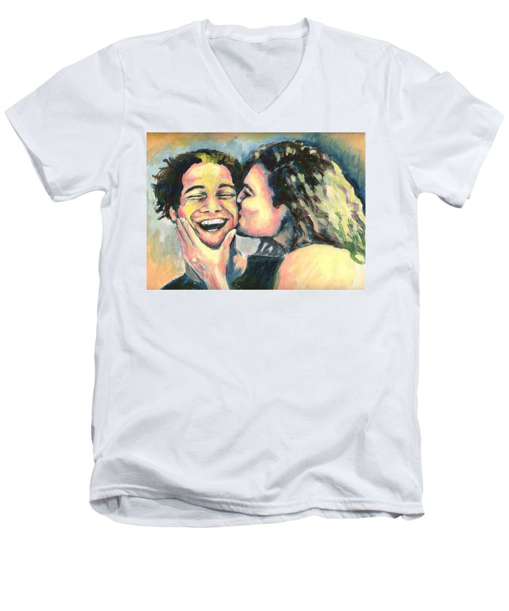 Man Men's V-Neck T-Shirt featuring the painting The Kiss by Nicole Zeug
