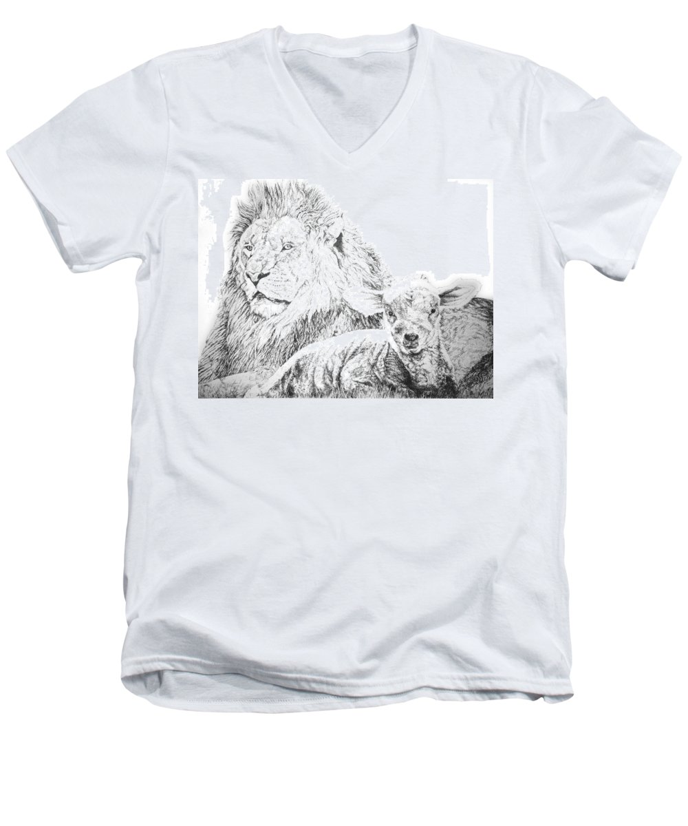 Lion Men's V-Neck T-Shirt featuring the drawing The Lion And The Lamb by Bryan Bustard