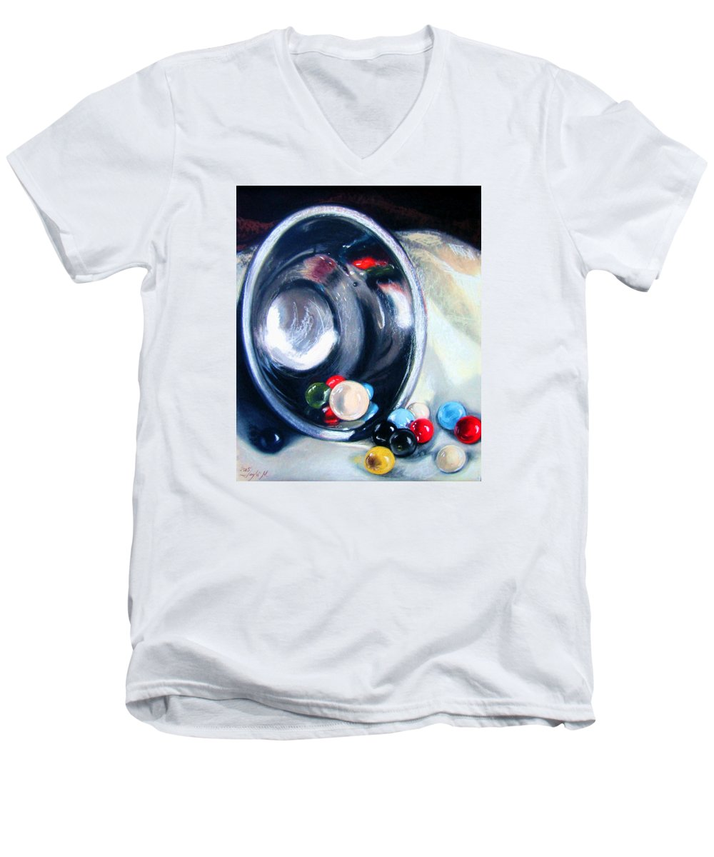 Marbles Men's V-Neck T-Shirt featuring the pastel The Marble Bowl by Leyla Munteanu