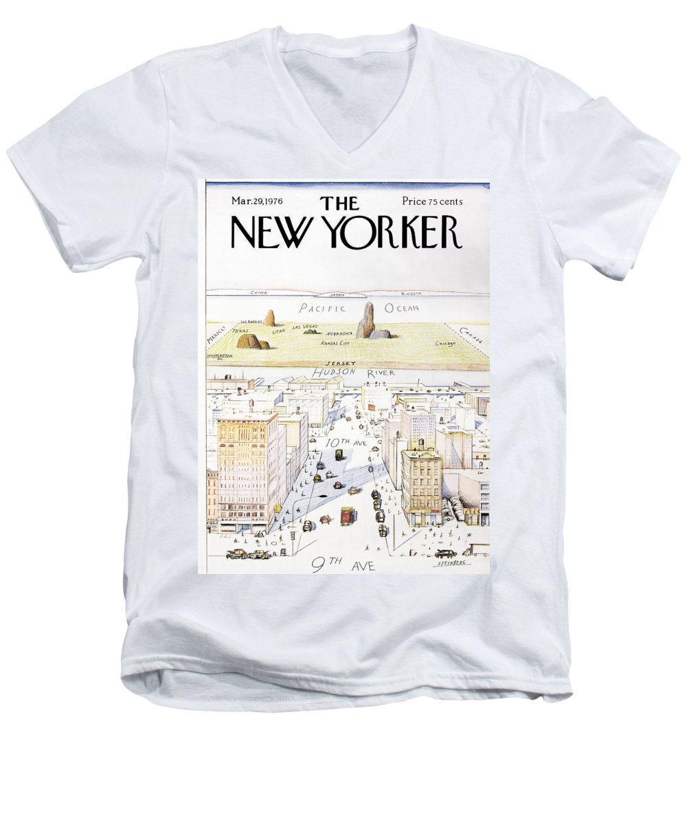 Saul Men's V-Neck T-Shirt featuring the photograph View From 9th Avenue by Saul Steinberg