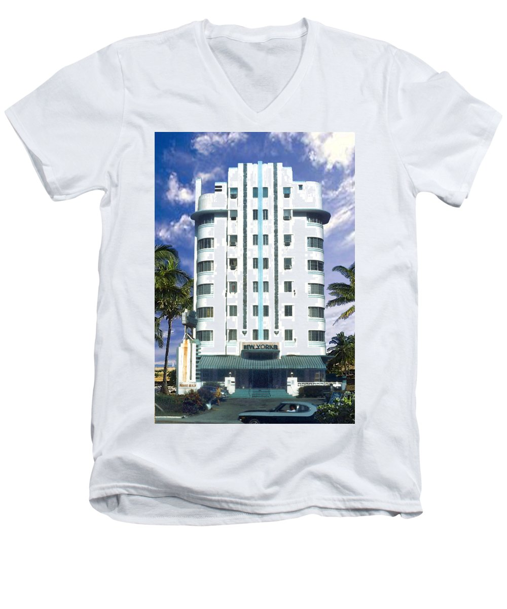 Miami Men's V-Neck T-Shirt featuring the photograph The New Yorker by Steve Karol