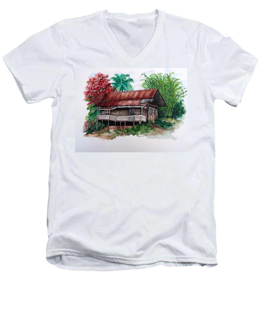 Tropical Painting Poincianna Painting Caribbean Painting Old House Painting Cocoa House Painting Trinidad And Tobago Painting  Tropical Painting Flamboyant Painting Poinciana Red Greeting Card Painting Men's V-Neck T-Shirt featuring the painting The Old Cocoa House by Karin Dawn Kelshall- Best