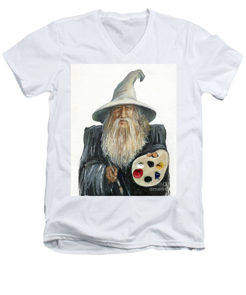 Wizard Men's V-Neck T-Shirt featuring the painting The Painting Wizard by J W Baker