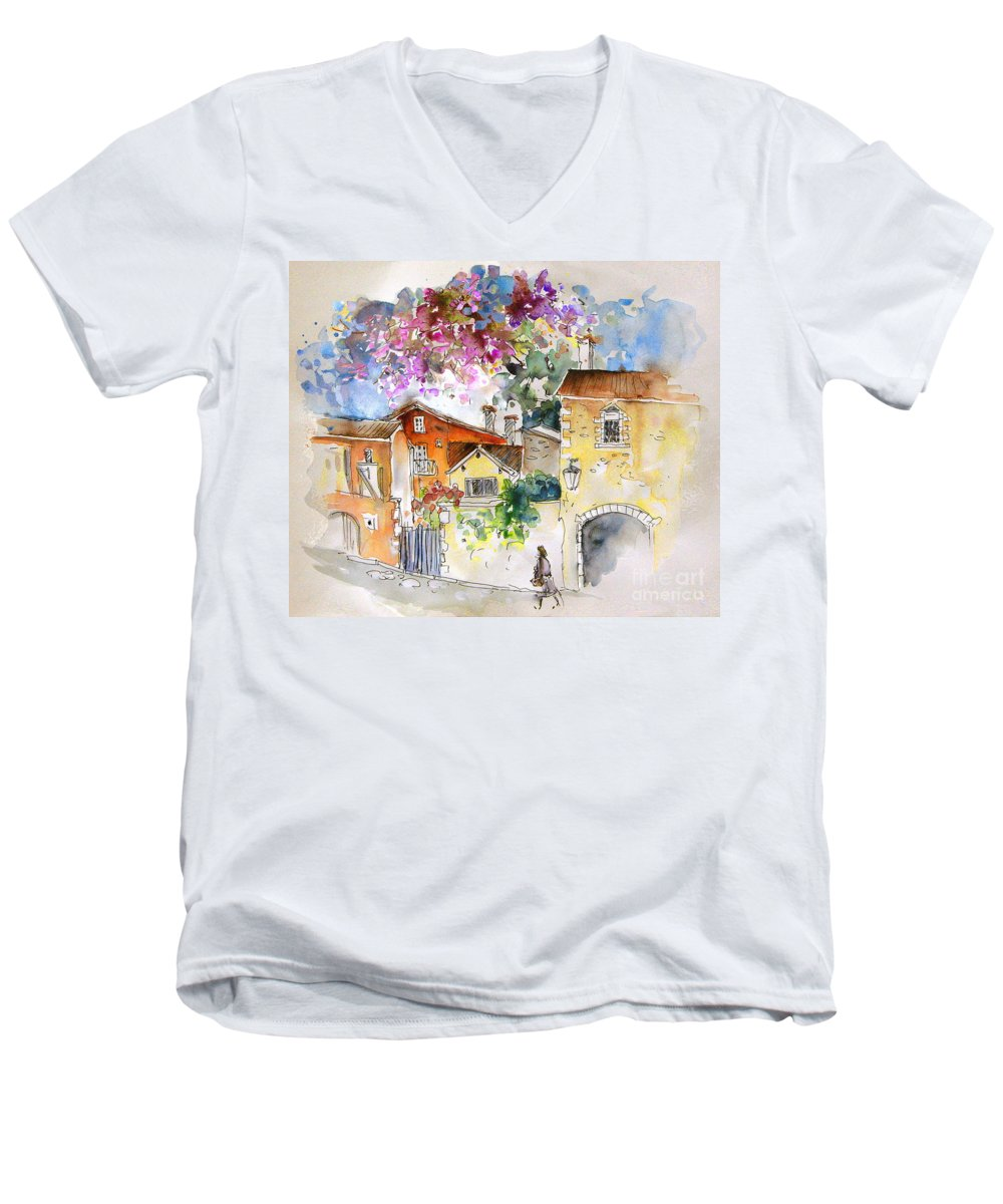 France Paintings Men's V-Neck T-Shirt featuring the painting The Perigord In France by Miki De Goodaboom