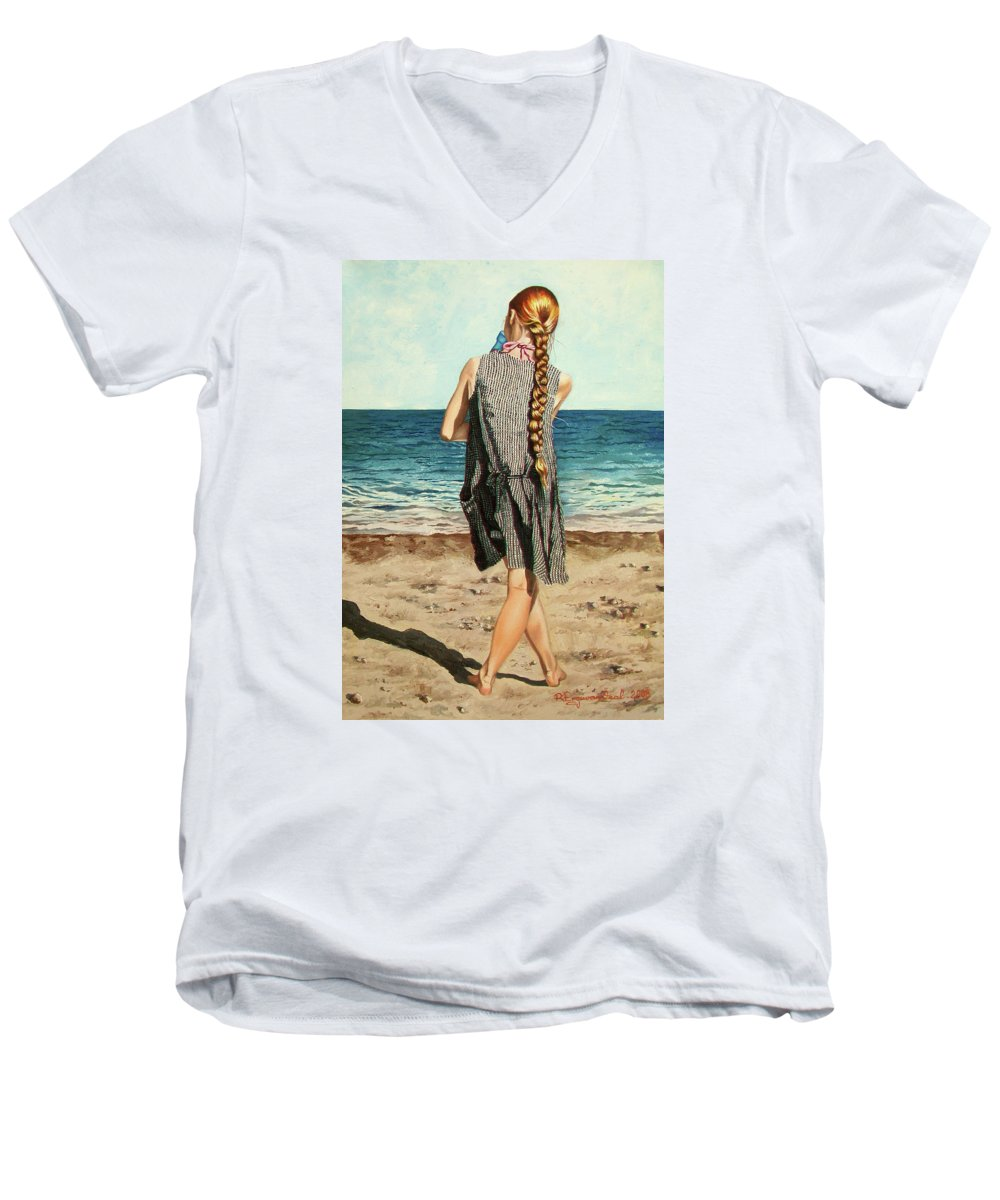 Sea Men's V-Neck T-Shirt featuring the painting The Secret Beauty - La Belleza Secreta by Rezzan Erguvan-Onal