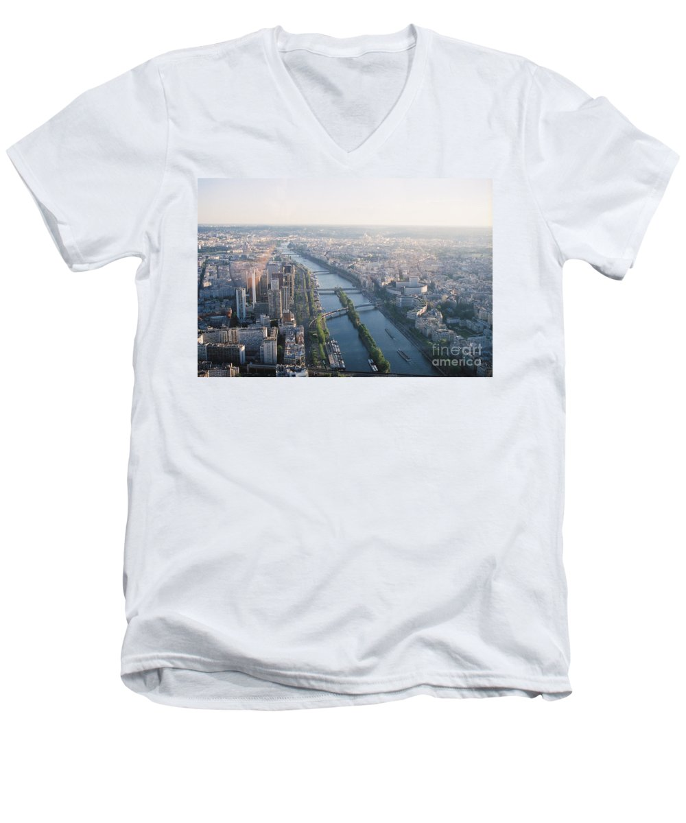 City Men's V-Neck T-Shirt featuring the photograph The Seine River In Paris by Nadine Rippelmeyer