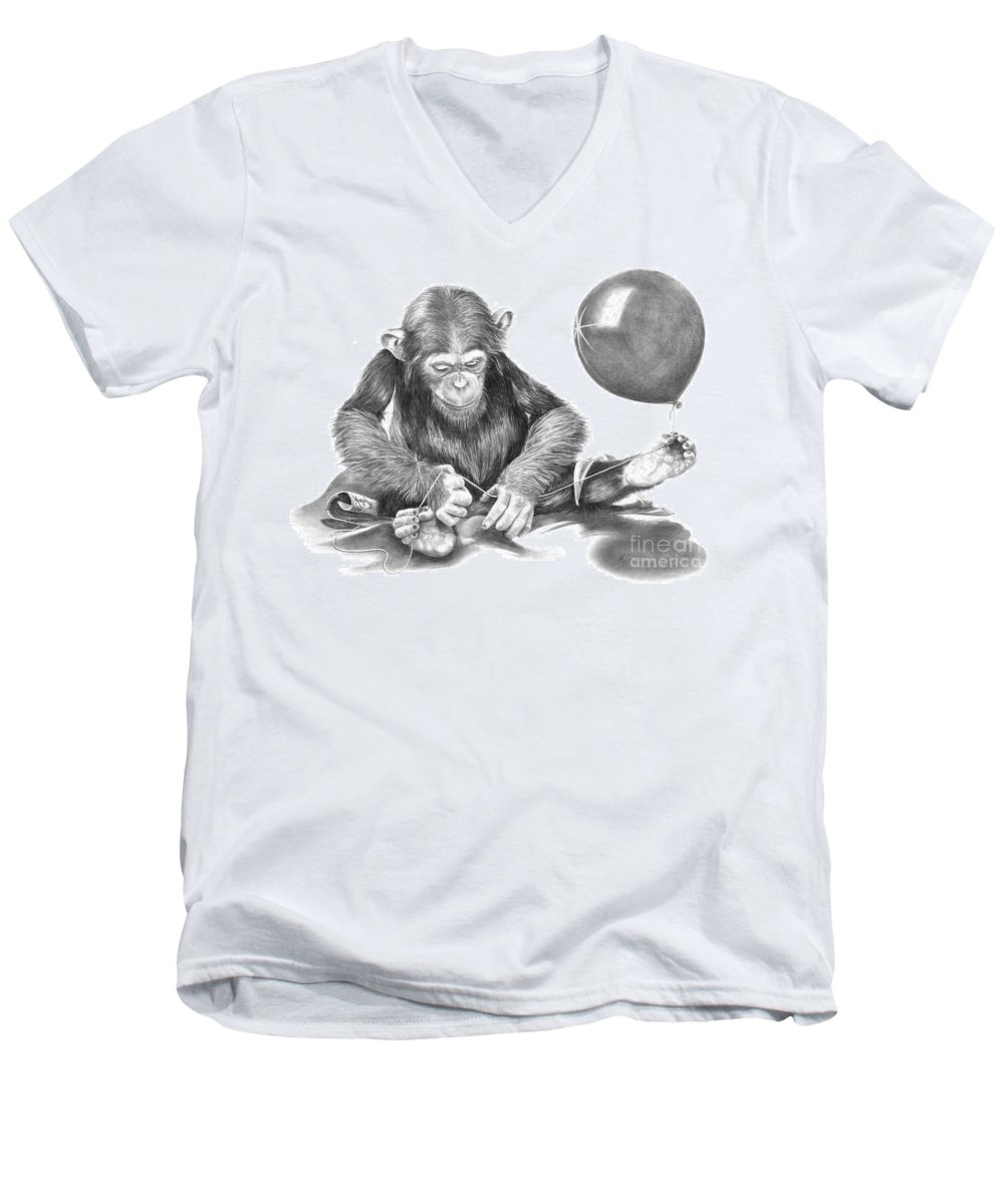 Pencil Men's V-Neck T-Shirt featuring the drawing The String Theory by Murphy Elliott