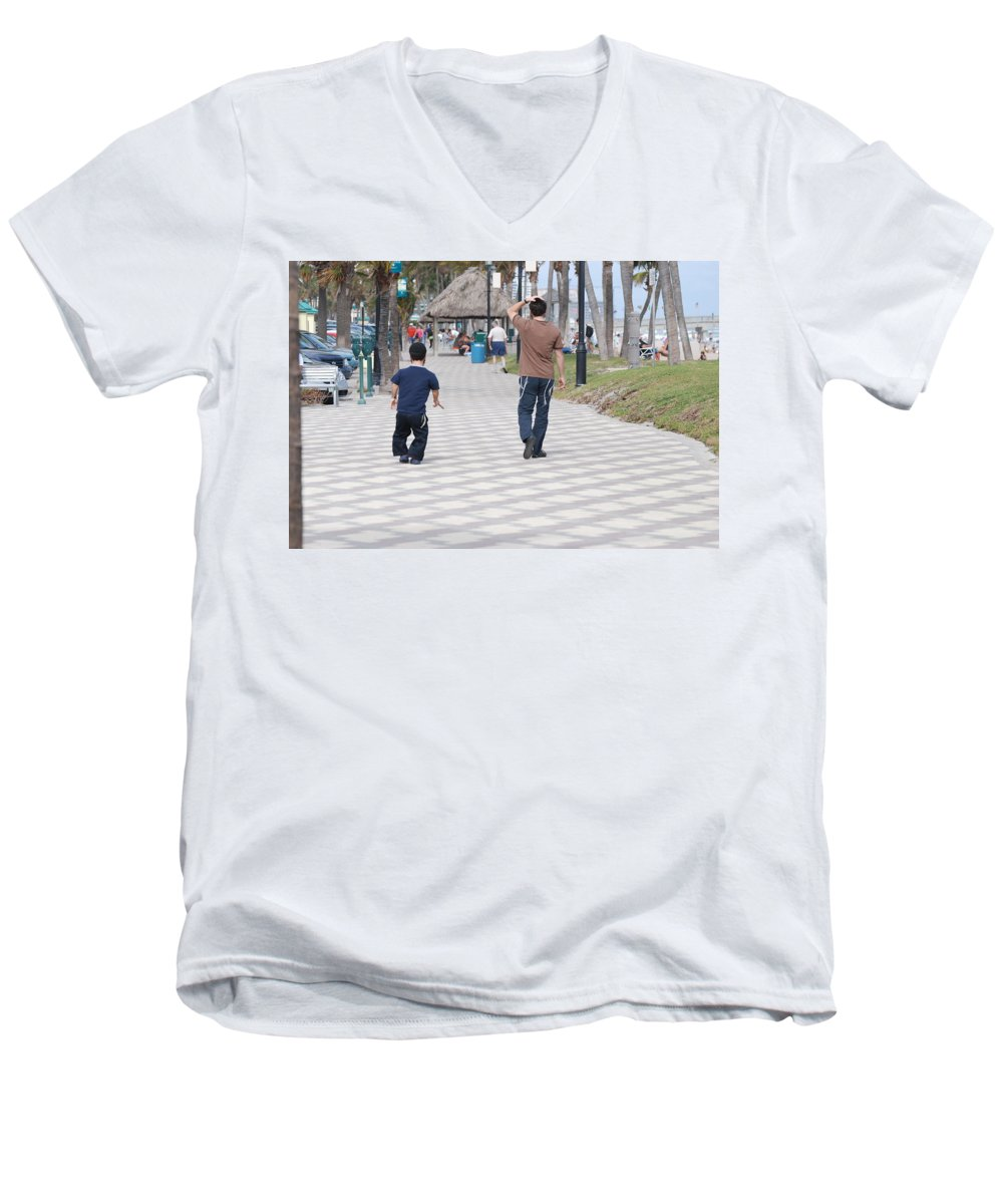 Man Men's V-Neck T-Shirt featuring the photograph The Walk by Rob Hans