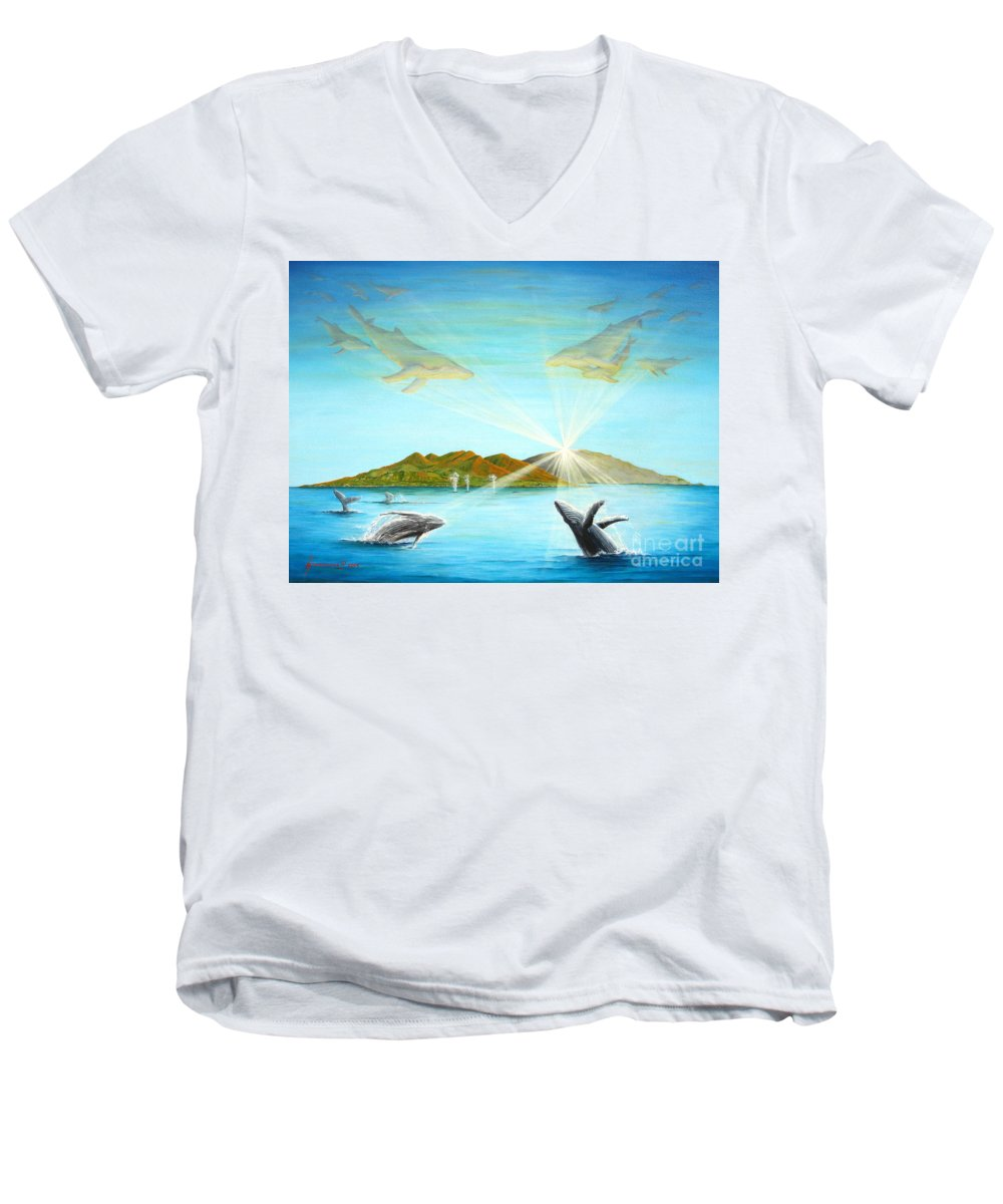 Whales Men's V-Neck T-Shirt featuring the painting The Whales Of Maui by Jerome Stumphauzer