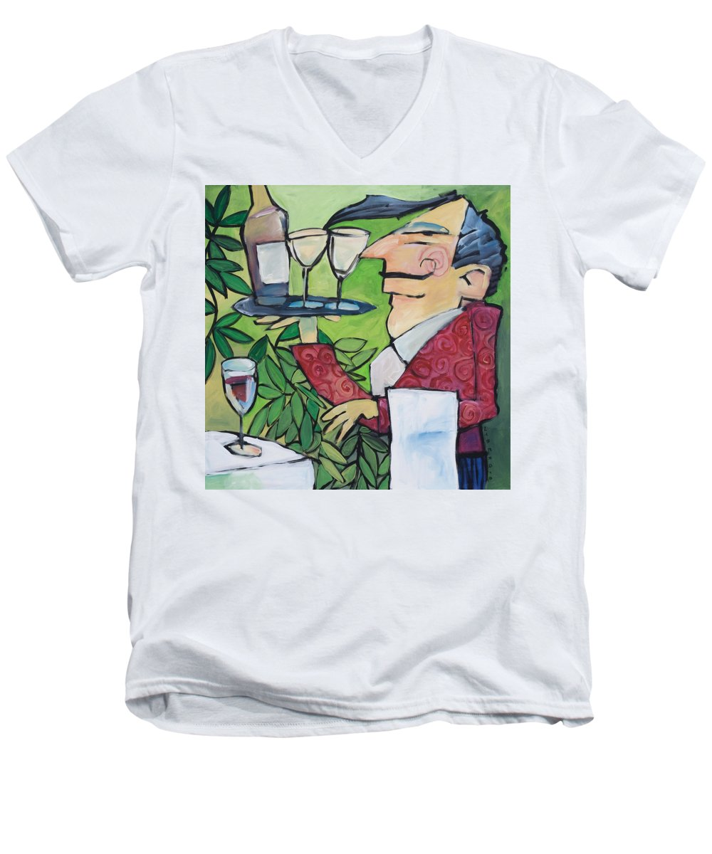 Wine Men's V-Neck T-Shirt featuring the painting The Wine Steward by Tim Nyberg
