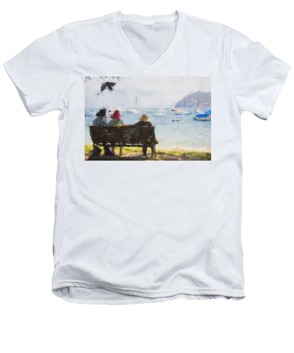 Impressionism Impressionist Water Boats Three Ladies Seat Men's V-Neck T-Shirt featuring the photograph Three Ladies by Avalon Fine Art Photography