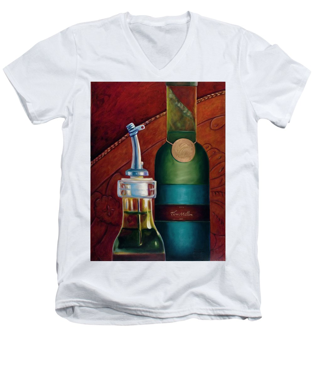Olive Oil Men's V-Neck T-Shirt featuring the painting Three Million Net by Shannon Grissom