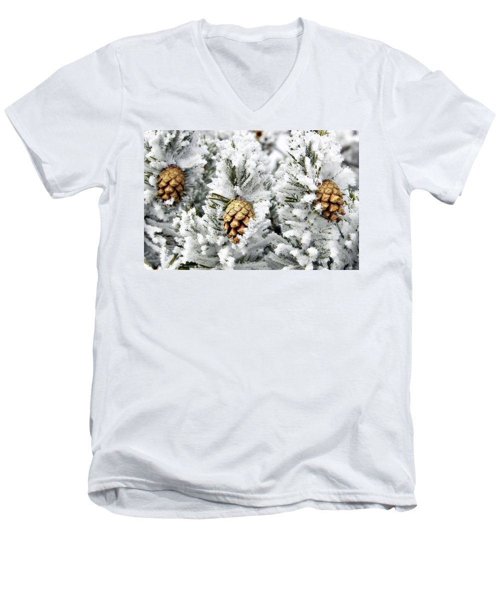 Frosty Men's V-Neck T-Shirt featuring the photograph Three Pinecones by Marilyn Hunt