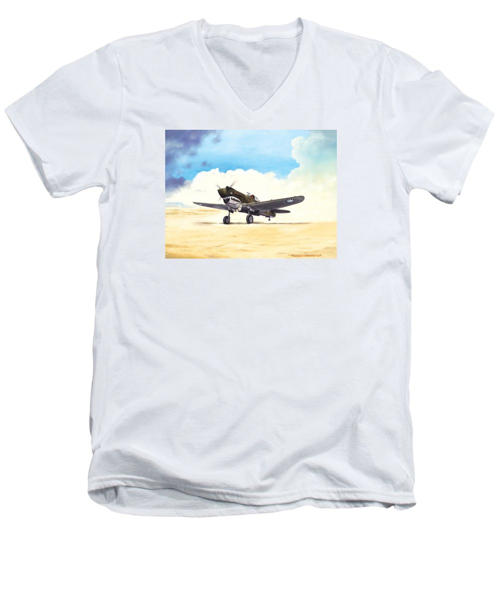 Aviation Men's V-Neck T-Shirt featuring the painting Tiger Scramble by Marc Stewart