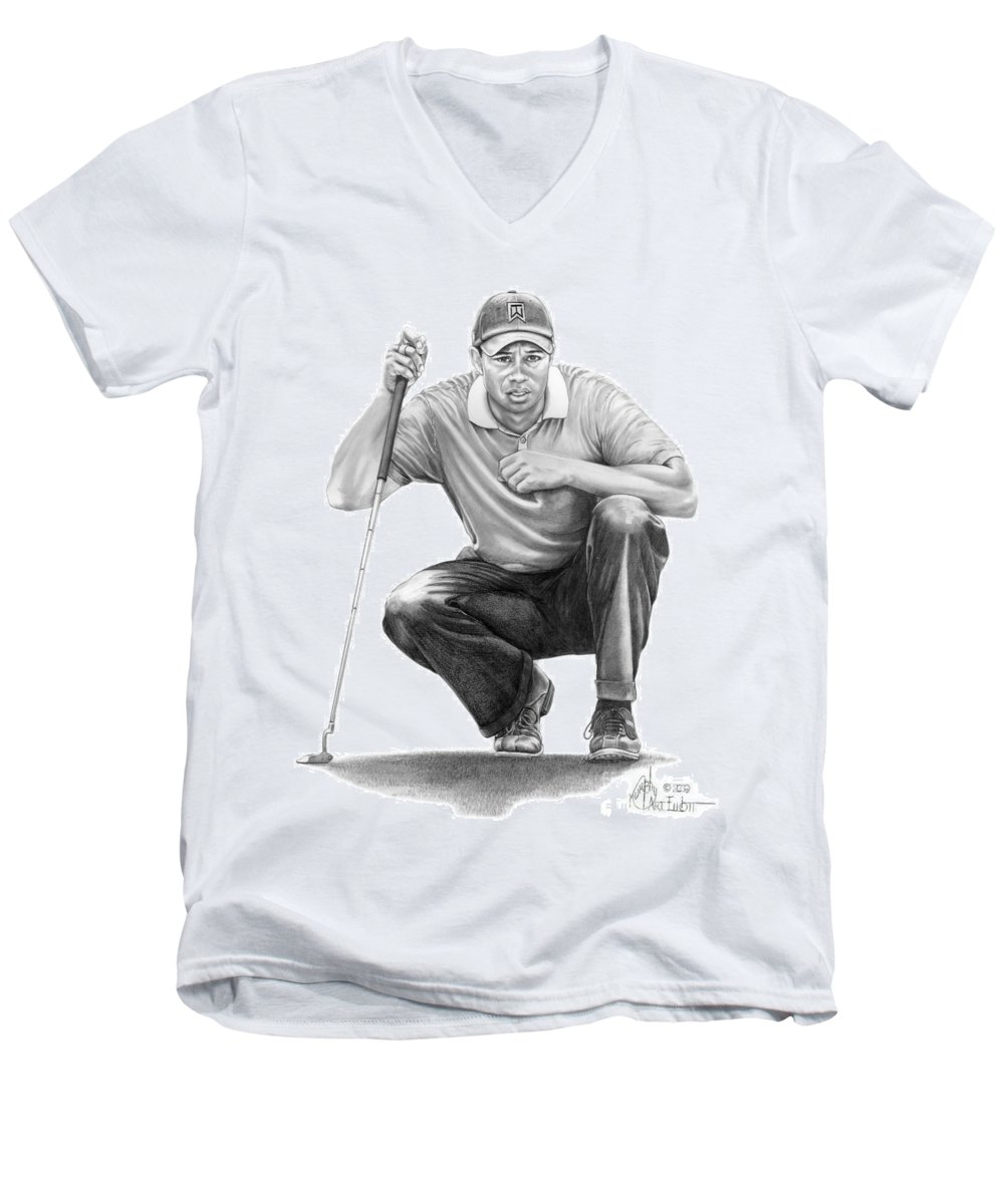 Pencil Men's V-Neck T-Shirt featuring the drawing Tiger Woods Crouching Tiger by Murphy Elliott