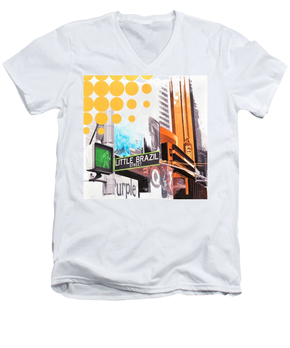 Ny Men's V-Neck T-Shirt featuring the painting Times Square Little Brazil by Jean Pierre Rousselet