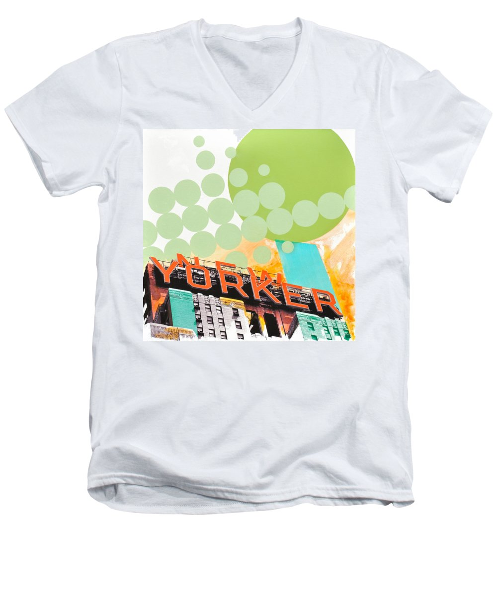 Ny Men's V-Neck T-Shirt featuring the painting Times Square New Yorker by Jean Pierre Rousselet