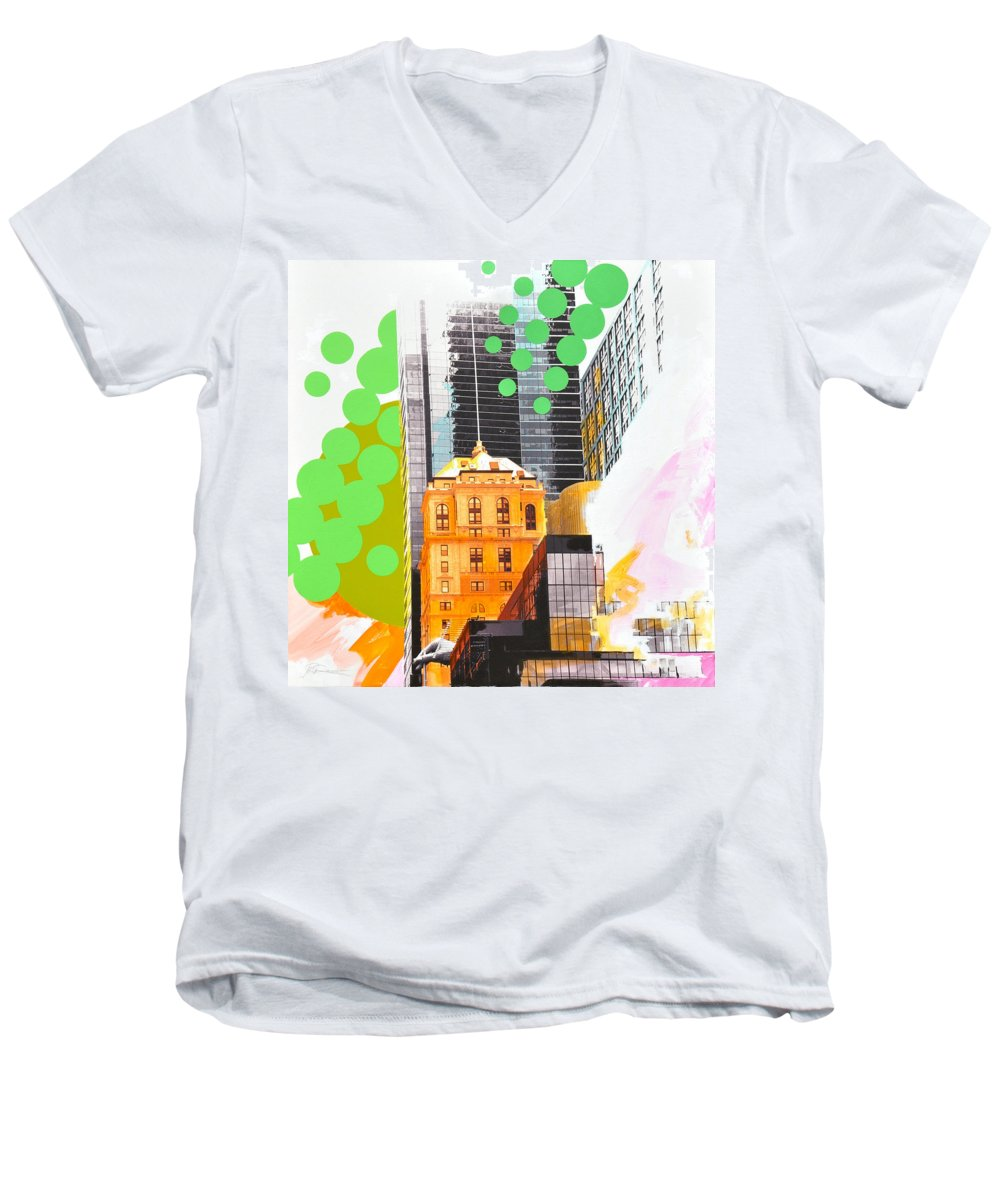 Ny Men's V-Neck T-Shirt featuring the painting Times Square Ny Advertise by Jean Pierre Rousselet