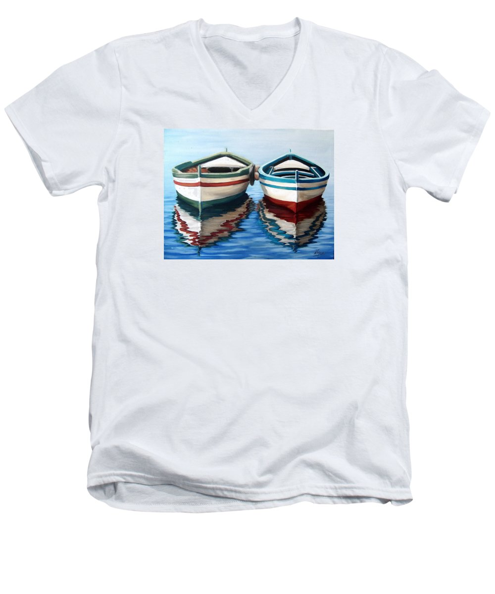 Seascape Sea Boat Reflection Water Ocean Men's V-Neck T-Shirt featuring the painting Together by Natalia Tejera