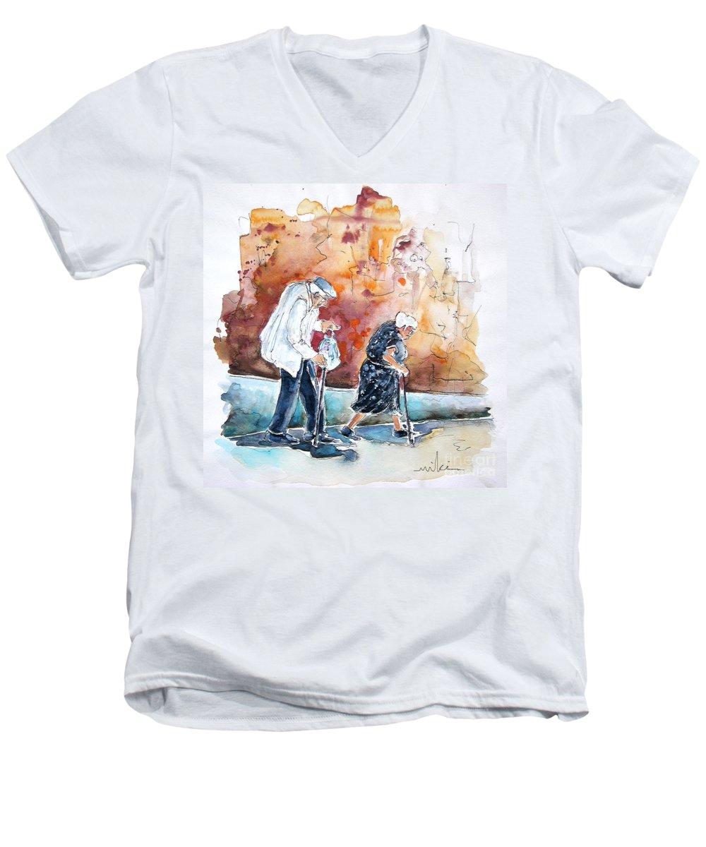 Portugal Paintings Men's V-Neck T-Shirt featuring the painting Together Old In Portugal 01 by Miki De Goodaboom