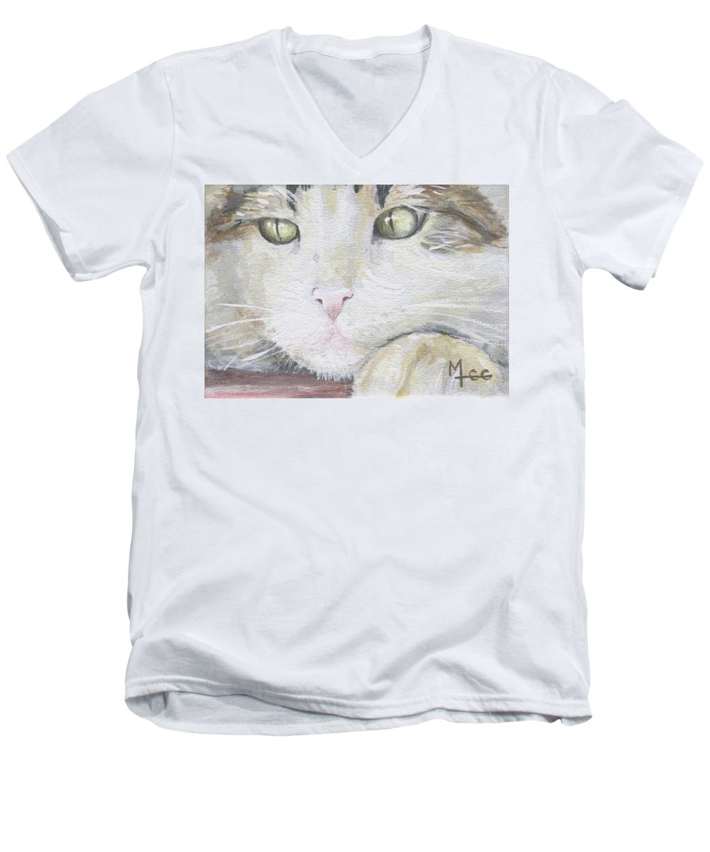 Charity Men's V-Neck T-Shirt featuring the painting Tommy by Mary-Lee Sanders