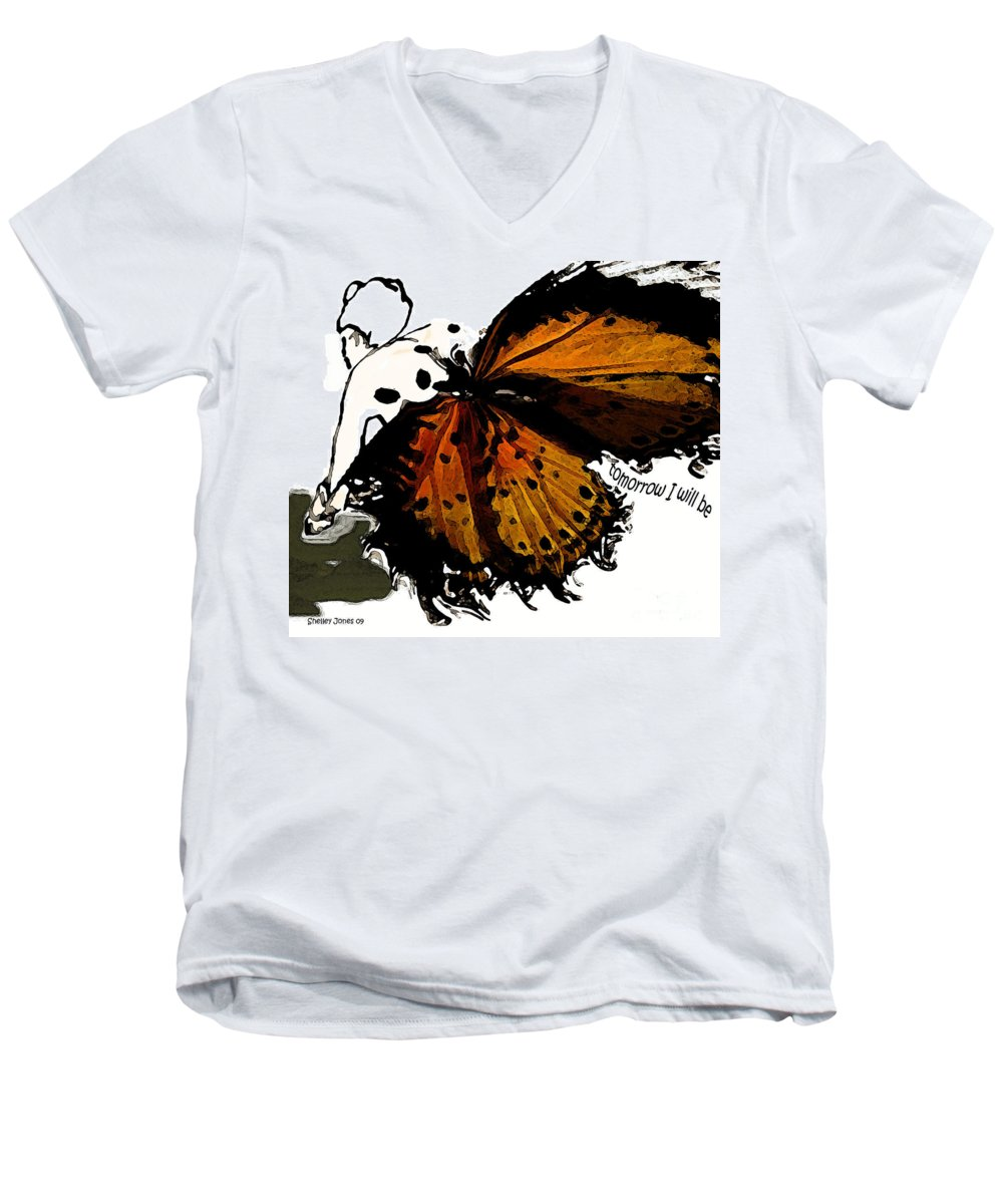 Woman Men's V-Neck T-Shirt featuring the digital art Tomorrow I Will Be by Shelley Jones