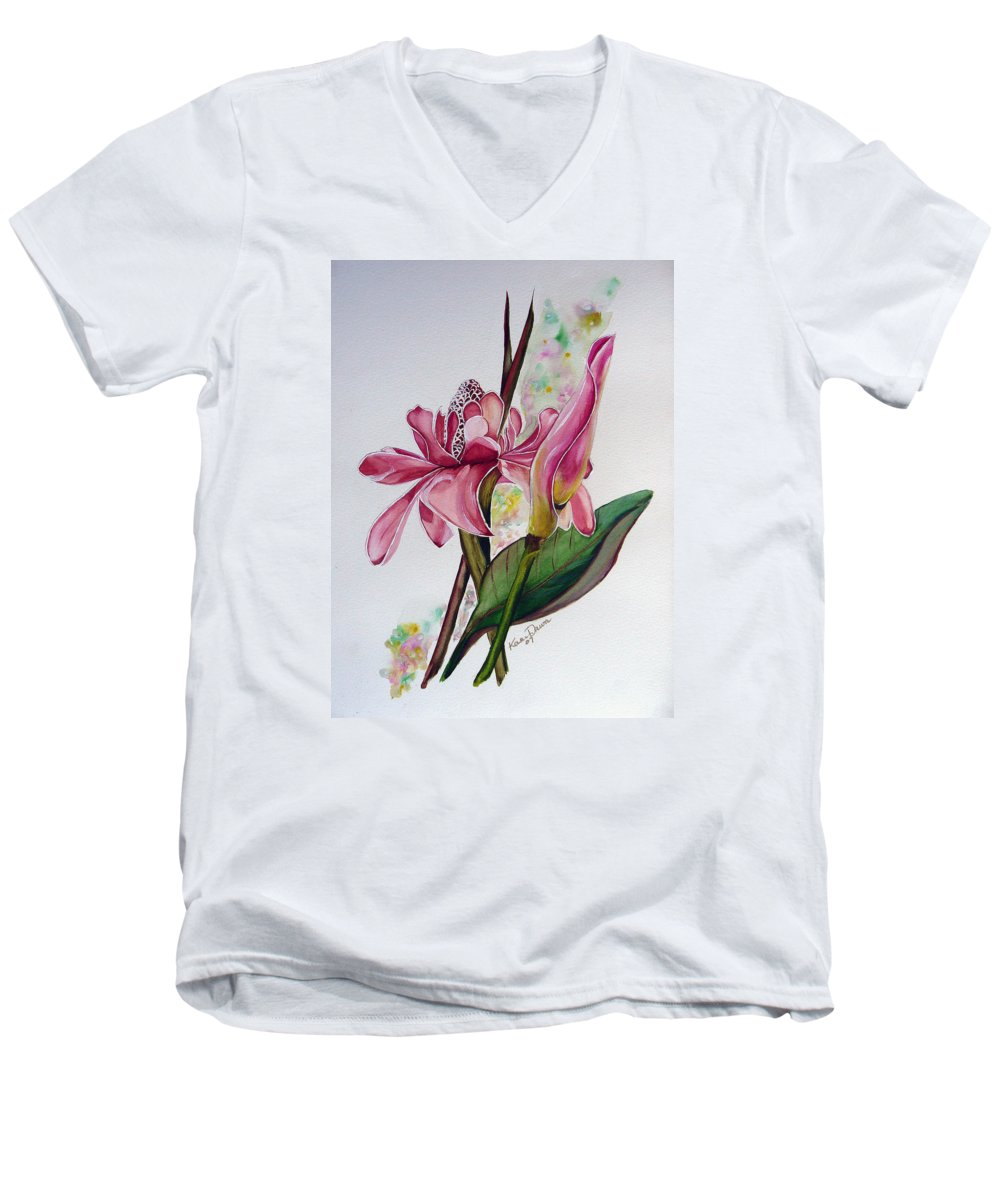 Flower Painting Floral Painting Botanical Painting Flowering Ginger. Men's V-Neck T-Shirt featuring the painting Torch Ginger Lily by Karin Dawn Kelshall- Best