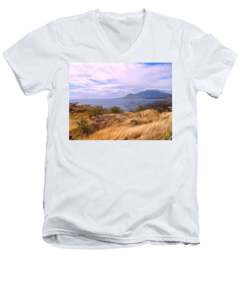 St Kitts Men's V-Neck T-Shirt featuring the photograph Towards Basseterre by Ian MacDonald