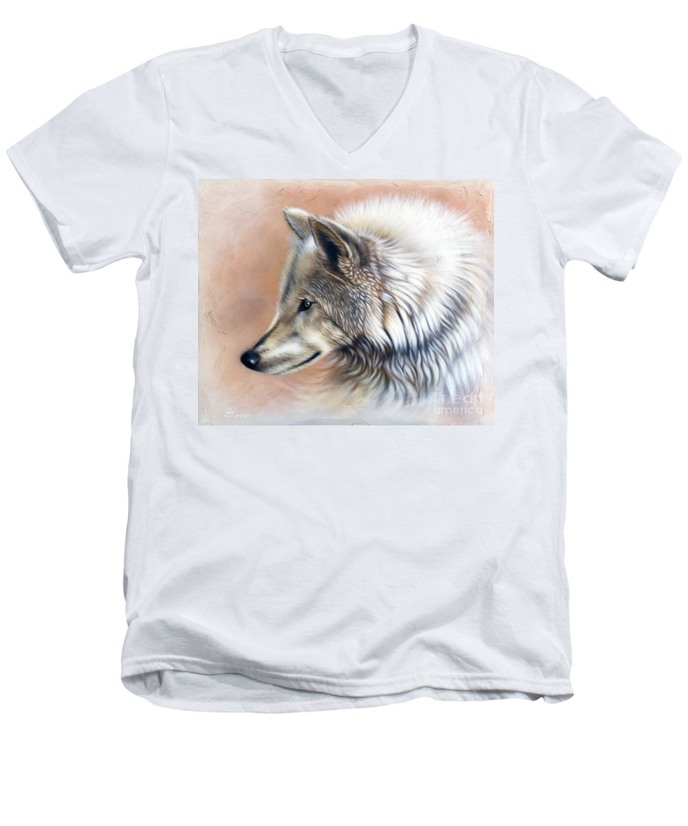 Wolves Men's V-Neck T-Shirt featuring the painting Trace IIi by Sandi Baker