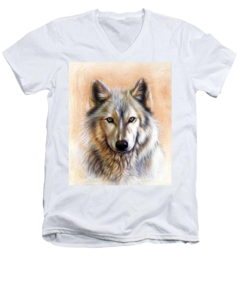 Wolves Men's V-Neck T-Shirt featuring the painting Trace Two by Sandi Baker