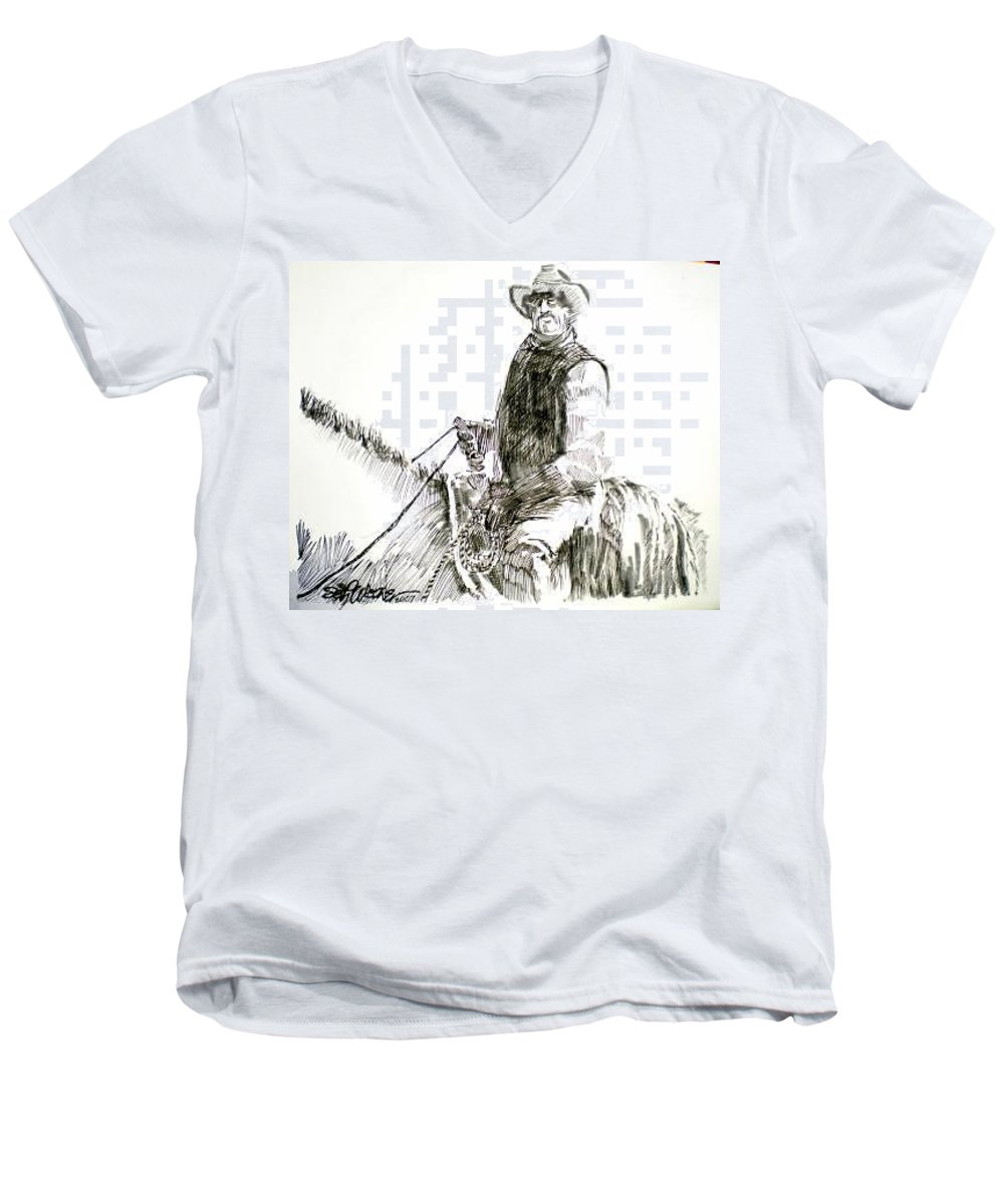 Trail Boss Men's V-Neck T-Shirt featuring the drawing Trail Boss by Seth Weaver