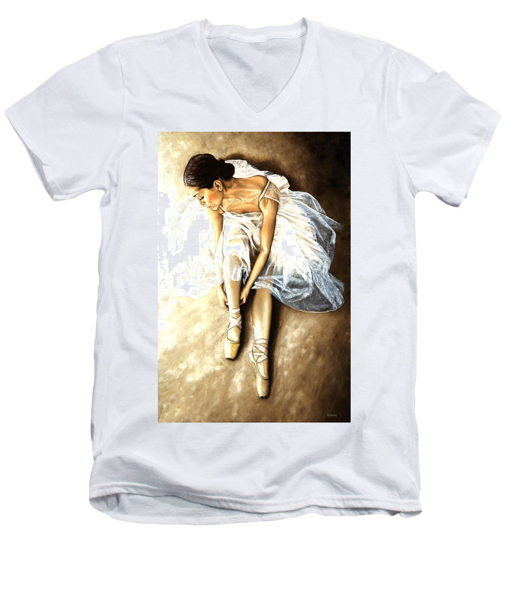Ballet Men's V-Neck T-Shirt featuring the painting Tranquil Preparation by Richard Young