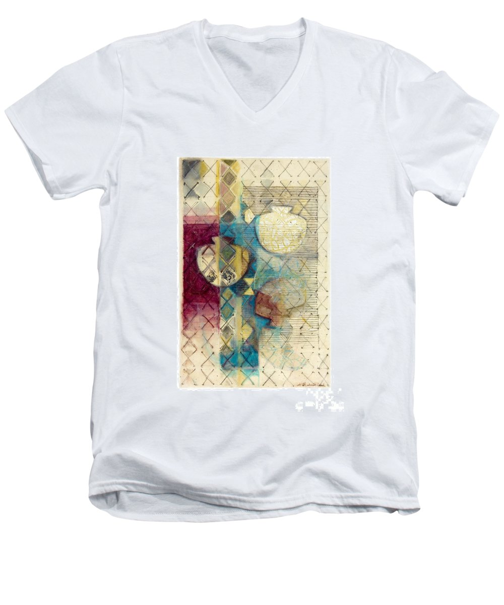 Mixed-media Men's V-Neck T-Shirt featuring the painting Trans Xs No 1 by Kerryn Madsen- Pietsch