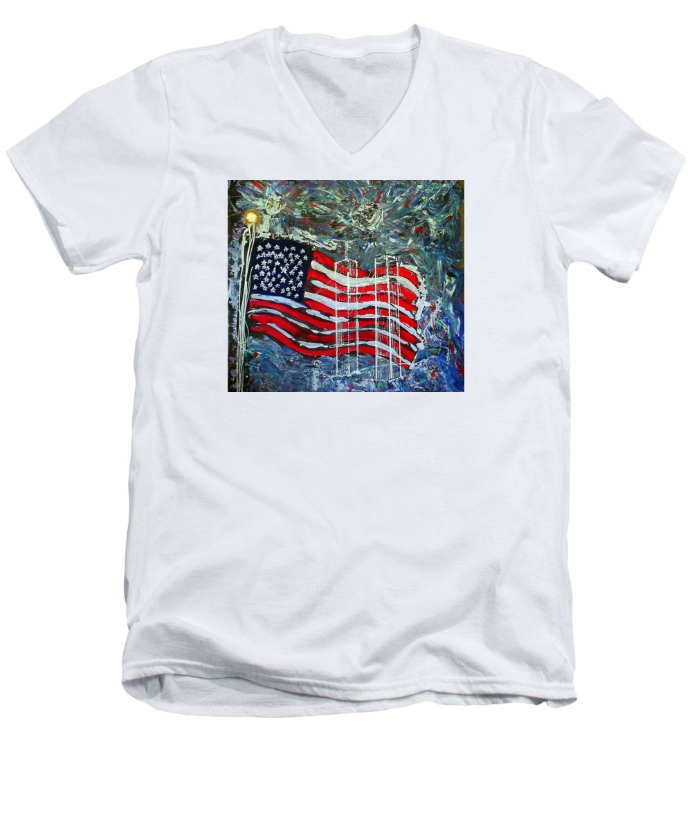 American Flag Men's V-Neck T-Shirt featuring the mixed media Tribute by J R Seymour