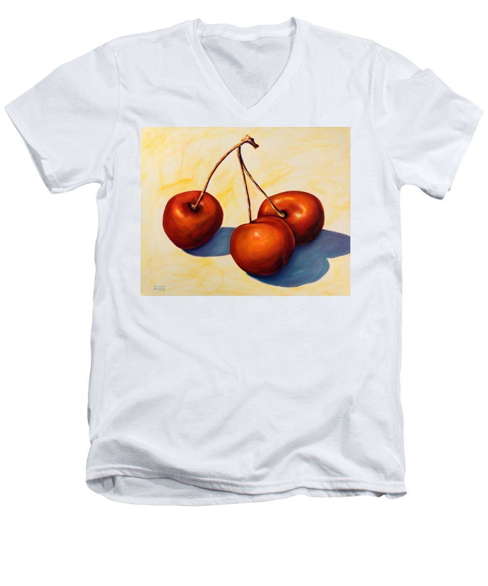 Cherries Men's V-Neck T-Shirt featuring the painting Trilogy by Shannon Grissom