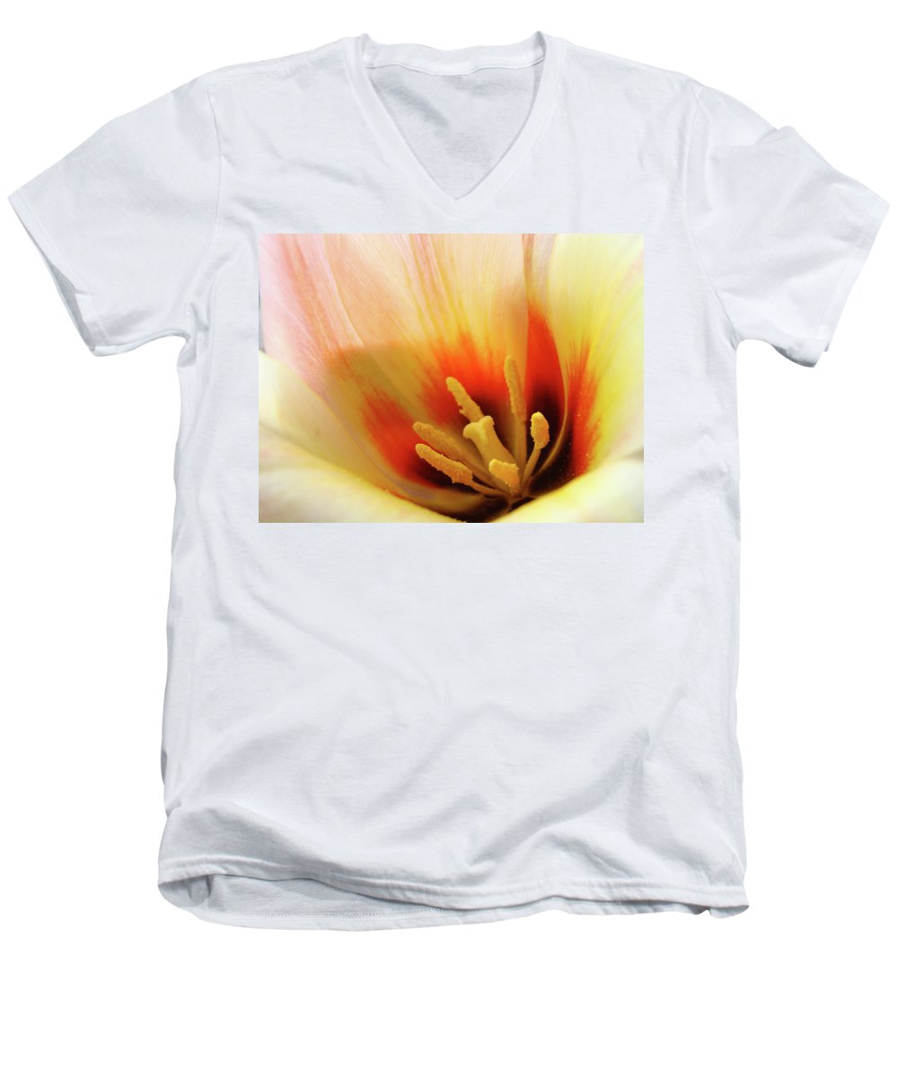 �tulips Artwork� Men's V-Neck T-Shirt featuring the photograph Tulip Flower Artwork 31 Tulips Flowers Macro Spring Floral Art Prints by Baslee Troutman